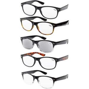 Eyekepper 5-pack Spring Hinges 80's Reading Glasses Includes Sun Readers +1.50