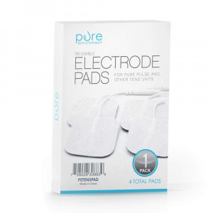 PurePulse TENS Electronic Pulse Massager Pads  Premium, Self-Adhesive Replacement Electrode Pads Compatible with PurePulse and Most Other TENS Units (Total of 4 Pads)