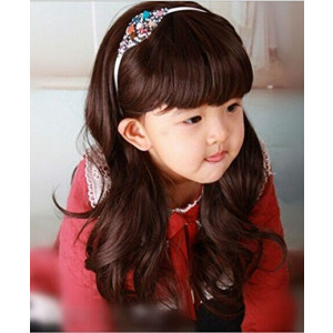 "RoyalStyle 20""50cm Child Curly Neat Bang Cosplay Wig Hair for Kids(Brown)"