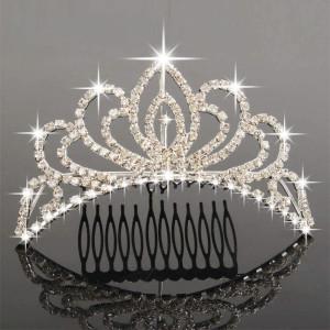 """Bseash Mini 4.4"""" Charming Rhinestone Tiara Crown Headband Comb Pin"""