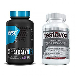Kre-Alkalyn (240 Capsules) and Testovox (60 Capsules) - High Performance Muscle Building Combo. Professional Strength Bodybuilding Supplement Stack by EFX Kre-Alkalyn