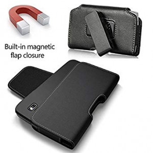 AIScell Large Pouch Holster [6.45X3.40X0.50 In] Side Leather Case Magnetic Flap Swivel Spring Clip ~ Fits iPhone Xs Max,8 Plus, 7 Plus, 6S Plus With LifeProof,Otterbox, Battery Case Hybrid Cover