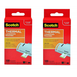 Scotch Thermal Laminating Pouches 2.32 x 3.70 Inches Business Card, 2-PACK, 200 Pouches Total (TP5851-100)