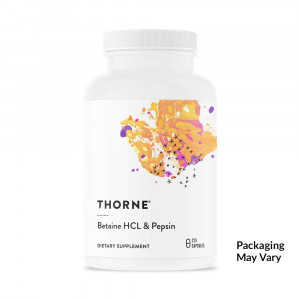 Thorne Research - Betaine HCL and Pepsin - Digestive Enzymes for Protein Breakdown and Absorption - 225 Capsules