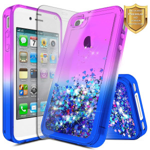iPhone 4 Case, iPhone 4S Case w/[Screen Protector HD Clear], NageBee Glitter Liquid Quicksand Waterfall Floating Flowing Sparkle Shiny Bling Diamond Girls Cute Case for iPhone 4/4S -Purple/Blue