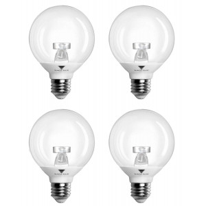 (Pack of 4) G25 LED Bulb 6W, Warm white (3000K) 40W LED Vanity Light Globe Bulb Incandescent Replacement with Clear Cover, Dimmable, UL Listed and Energy Star certified LED Light Bulbs