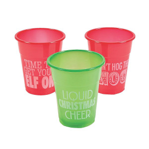 50pc Christmas Holiday Humorous Plastic Drinking Cups 12oz