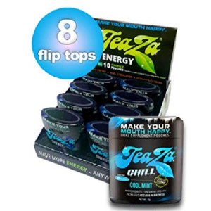 NEW Flip Top TeaZa Chill with Relora All-Natural Herbal Relaxation Supplement -8 Pack Caffeine Free