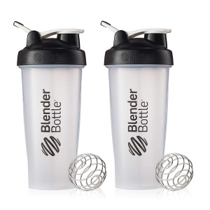 BlenderBottle Classic Loop Top Shaker Cup, 28-Ounce, Black/Clear, Pack of 2