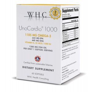 WHC - UnoCardio 1000 (60 Softgels) - 1280 mg of pure Triglyceride fish oil with high concentration omega-3 (1185 mg), 652 mg EPA and 440 mg DHA and 25 mcg (1000 IU) vitamin D3 per softgel