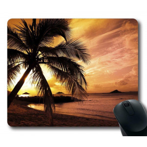 Gaming Mouse Pad Personalized Unique Oblong Shaped Mouse Pad Tropical Beach Sunset Design Natural Eco Rubber Durable Computer Desk Stationery Accessories Gifts For Mouse Pads - Support Wired Wireless or Bluetooth Mouse