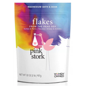Pink Stork Flakes: Pregnancy Bath Salt -Organic Magnesium from Dead Sea -Morning Sickness, Energy Levels, Aches and Pains, Sleep Quality and more -Bath or Foot Soaks -Zero Fillers