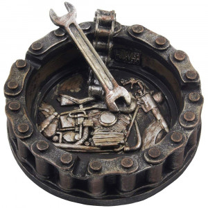 Decorative Motorcycle Chain Ashtray with Wrench and Bike Motif Great for a Biker Bar and Harley Mechanics Shop Smoking Room Decor As Unique for Men or Smokers