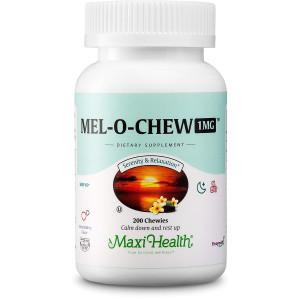 Maxi Health Mel-O-Chew - Chewable Melatonin - Sleep Aid - 1 Mg - Berry Flavor - 200 Chewies - Kosher