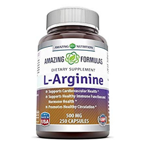 Amazing Formulas L-Arginine 500 mg Supplement - Best Amino Acid Arginine HCL Supplements for Women and Man - Promotes Circulation and Supports Cardiovascular Health - 250 Capsules