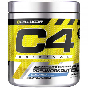 Cellucor C4 Original Pre Workout Powder Energy Drink w/ Creatine, Nitric Oxide and Beta Alanine, Icy Blue Razz, 60 Servings