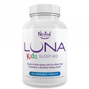 LUNA Kids | #1 Sleep Aid Tablets for Children 4+ and Sensitive Adults | Naturally Sourced Ingredients | 60 x Chewable Pills | Gentle, Herbal Supplement with Chamomile, Melatonin, Valerian and Lemon Balm