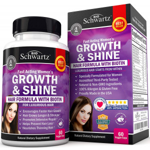 Hair Growth Vitamins with Biotin. Exclusive Hair Growth Product for Women for Longer, Stronger, Silky and Soft Hair. Visible results in 1 Month. Gluten Free Non-GMO Vitamins for Hair Growth Made in USA