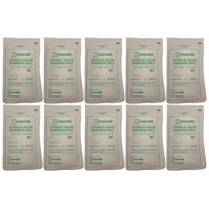 "Emerald Sterile Krinkle Kerlix Type 4 1/2"" x 4 1/8 Yds, Bandage Roll - Pack of 10"