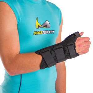 BraceAbility Thumb and Wrist Tendonitis Splint | Immobilizes Thumb Joint to Treat De Quervain's Tenosynovitis Tendon Pain, Swelling and Inflammatory Arthritis (M - Right Hand)