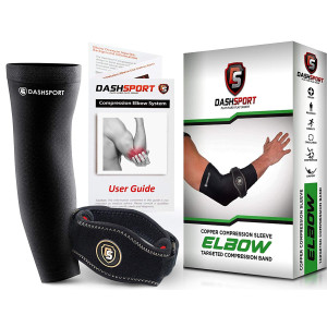 DashSport Tennis Elbow Brace  Copper Compression Elbow Sleeve The Original Elbow System Complete Support Pain Relief from Golfer Tennis Elbow