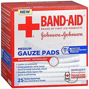 "Johnson and Johnson Red Cross Hospital Grade  Gauze Pads 3""x3"" - 25 ct"