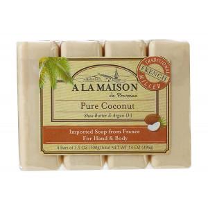 A La Maison Soap Bars, Pure Coconut, Value Pack 3.5 oz, 4 Count
