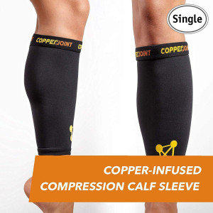 CopperJoint  Copper-Infused Compression Calf Sleeve, High-Performance, Breathable Design Promotes Proper Blood Flow to Help Improve Circulation All Lifestyles, Single Sleeve