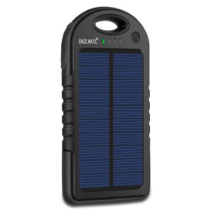 Solar Charger, Dizaul 5000mAh Portable Solar Power Bank Waterproof/Shockproof/Dustproof Dual USB Battery Bank for Cell Phone, Samsung, Android Phones, Windows Phones, GoPro Camera, GPS and More