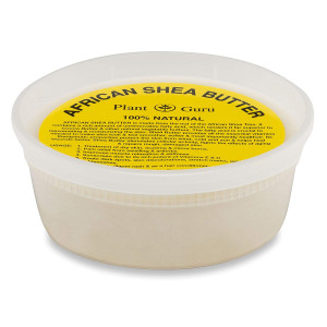 Plant Guru African Shea Butter Raw Unrefined Grade  A 100% Pure Natural Ivory/White 8 oz. DIY Body Butters, Lotion, Cream, lip Balm and Soap Making Supplies, Eczema and Psoriasis Aid, Stretch Marks