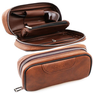 Scotte Leather tobacco Smoking Wood pipe pouch case/bag for 2 tobacco pipe and other accessories(Does not include pipes and accessories)