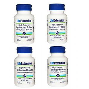 Life Extension High Potency Optimized Folate L-Methylfolate 5000 mcg 30 vegetarian tablets - 4-Pak