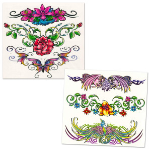 Savvi Lower Back Temporary Tattoos (Set of 6 Low Rise Tattoos)