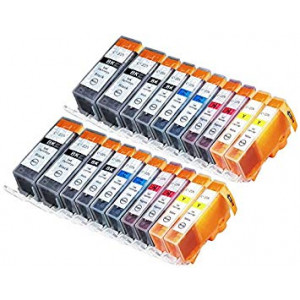 Sherman Inks 20 Pack Compatible CLI-226, PGI-225 4 Small Black, 4 Cyan, 4 Magenta, 4 Yellow, 4 Big Black Ink cartridge for use with Canon Ink Cartridges for inkjet printers Pixma MG5320, MG5220, MX892, MG6120, MG6220, PIXMA iX6520, MG8220, MG8120, iP4920,