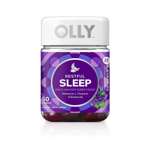 OLLY Restful Sleep Gummy Supplement with Melatonin and L-Theanine Chamomile, Blackberry Zen, 50 Gummies (25 Day Supply) Supports a Healthy Sleep Cycle* (Packaging May Vary)
