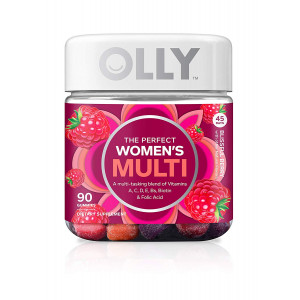 OLLY Perfect Women's Multivitamin Gummy Supplement with Biotin and Folic Acid, Blissful Berry, 90 Gummies (45 Day Supply)