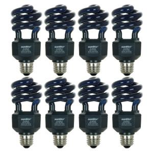 Sunlite SL20/BLB/8PK 20W Spiral Energy Saving CFL Light Bulb Medium Base (8 Pack), Blacklight Blue