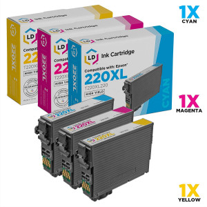 LD Products Remanufactured Ink Cartridge Replacement for Epson 220XL ( Cyan, Magenta, Yellow , 3 pk )