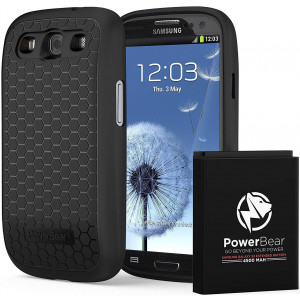 PowerBear Samsung Galaxy S3 Extended Battery [4500mAh] and Back Cover and Protective Case (Up to 2.2X Extra Battery Power) - Black [24 Month Warranty and Screen Protector Included]