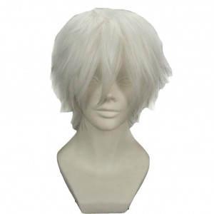 BERON Cool Men Short Straight Cosplay Costume Party Funny Wigs (Silvery White)
