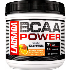 LABRADA NUTRITION  BCAA Power Powder, Fermented Amino Acids with Glutamine and Electrolytes, Muscle Building Post Workout Supplement, Orange Mango, 30sv