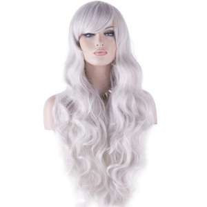 """DAOTS 32"""" Cosplay Wigs Long Wig Hair Heat Resistant Curly Wave Hairs for Women(Silver White)"""
