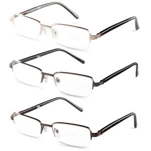 Specs Mens Half Rimmed Reading Glasses, Value Pack, All Magnification Strengths