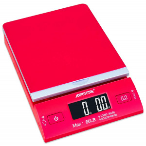 Accuteck DreamRed 86 Lbs Digital Postal Scale Shipping Scale Postage With USBandAC Adapter, Limited Edition