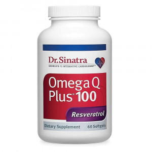 Dr. Sinatra's Omega Q Plus 100 Resveratrol - Omega-3 Supplement with Resveratrol and 100 mg of CoQ10 - Support for Healthy Blood Pressure, Healthy Blood Flow, and Antioxidant Protection (60 softgels)
