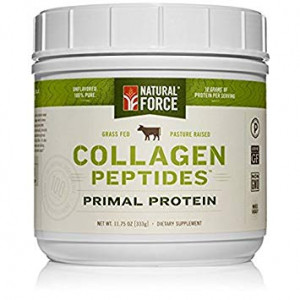 Grass Fed Collagen Peptides, Best Collagen for Hair, Nails and Skin*  Hydrolyzed Collagen Protein from Pasture Raised Cows  Type I and III Collagen Powder Supplement by Natural Force, 11.75 Ounce