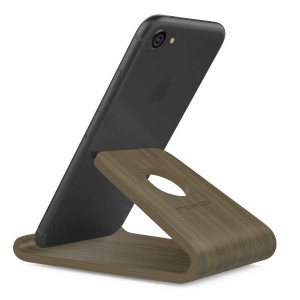 MoKo Wooden Cell Phone Stand, Wood Smartphone Holder for iPhone Xs/XS Max/XR/X/8 Plus/8/7 Plus, Galaxy S9/S9 Plus/S8/S8 Plus, Moto G5 Plus/E4, BLU R1 HD/Advance 5.0, Nokia and More, Walnut Color