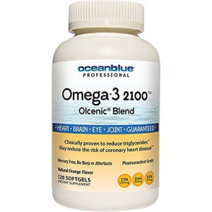Ocean Blue Omega 3 2100-120 Softgels - 2100mg of EPA DHA Per Serving - Pharmaceutical Grade  - Cardiologist Recommended Fish Oil - Heart and Cognitive Support - Can Help Reduce Cholesterol Levels