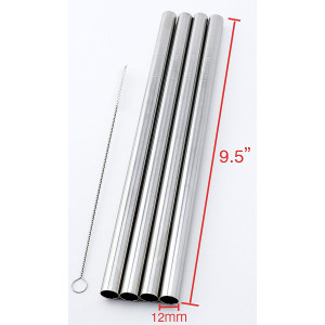 "4 Stainless Steel Straws Big Straw Extra Wide 1/2"" x 9.5"" Long Thick FAT - CocoStraw Brand"