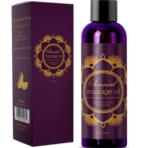 Sensual Massage Oil with Relaxing Lavender, Almond Oil and Jojoba for Men and Women  100% Natural Hypoallergenic Skin Therapy with No Artificial or Added Ingredients - USA Made by Honeydew